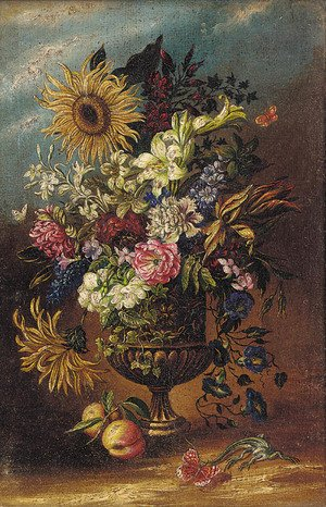 Mixed flowers in an urn by a lizard