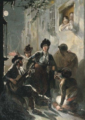 Musicians playing a serenade in an alley