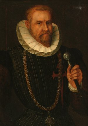 Portrait of a gentleman, half-length, in a black doublet and a ruff collar