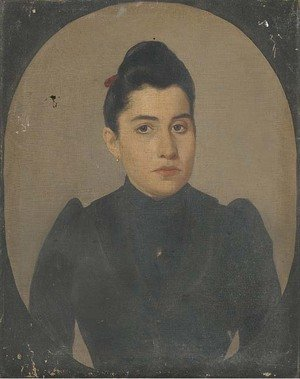 Portrait of a lady, half-length, in black, in a feigned oval