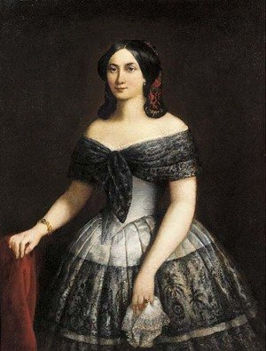 Portrait of a lady, half-length, wearing a silk and lace trimmed dress