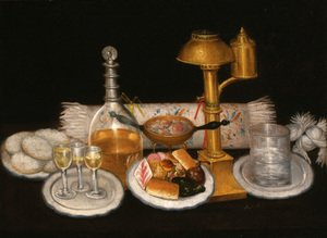 Famous paintings of Desserts: A decanter, wine glasses, a plate of sweetmeats