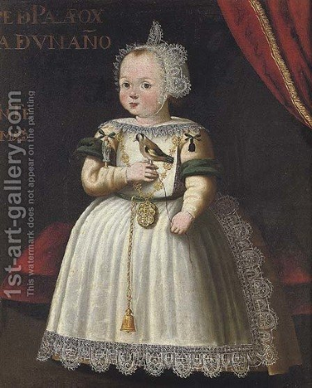 Portrait of a young girl from the Palafox family, aged 1 by (after) Bartolome Gonzalez Y Serrano - Reproduction Oil Painting