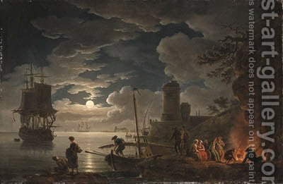 A moonlit harbor scene with a fisherman and figures seated around a fire, shipping beyond by (after) Claude-Joseph Vernet - Reproduction Oil Painting