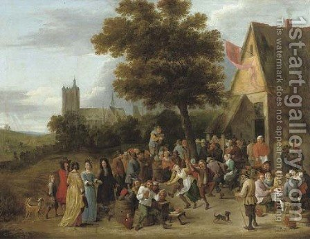 A peasant feast before an inn, the church of Sainte-Gudule, Brussels beyond by (after)  David The Younger Teniers - Reproduction Oil Painting