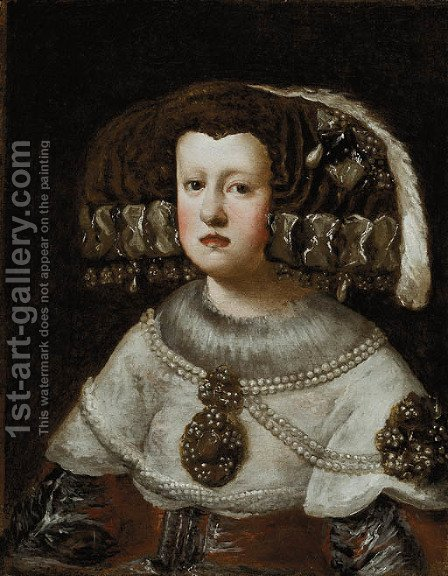 Portrait of Queen Mariana of Austria by (after) Diego Rodriguez De Silva Y Velazquez - Reproduction Oil Painting