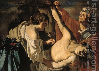 Saint Sebastian nursed by Saint Irene by (after) Dirck Van Baburen - Reproduction Oil Painting