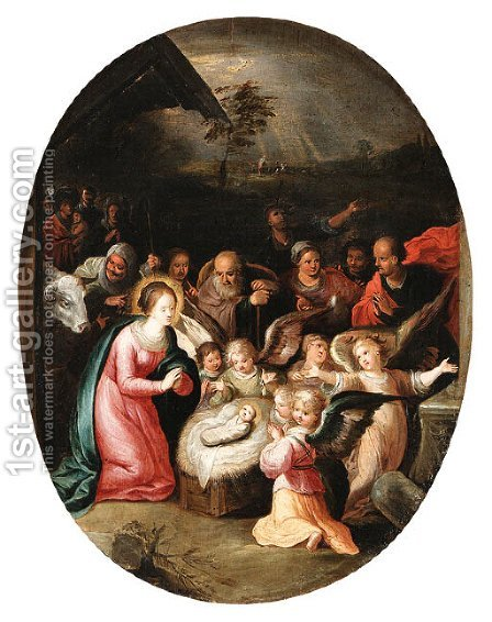 The Nativity by (after) Frans II Francken - Reproduction Oil Painting
