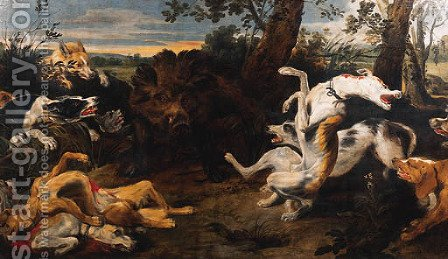 Hounds attacking a Boar by (after) Frans Snyders - Reproduction Oil Painting