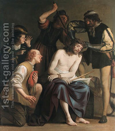 The Mocking of Christ by (after) Honthorst, Gerrit van - Reproduction Oil Painting