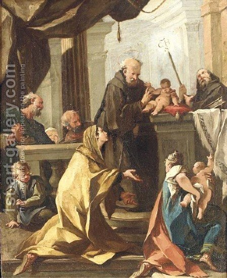 A woman and her child presented by Franciscan saints to the Infant Christ by (after) Giovanni Battista The Younger Pittoni - Reproduction Oil Painting
