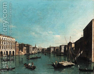 The Grand Canal, Venice, looking south from the Palazzi Foscari and Moro-Lin to the Church of Santa Maria della Carita by (after) (Giovanni Antonio Canal) Canaletto - Reproduction Oil Painting