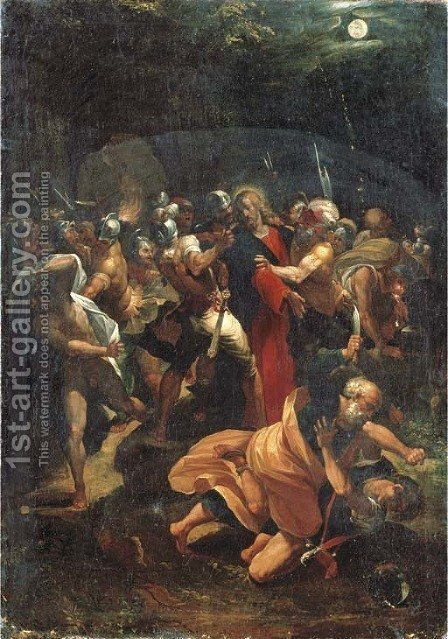 The Arrest of Christ in the Garden of Gethsemane by (after) Giuseppe (d'Arpino) Cesari (Cavaliere) - Reproduction Oil Painting