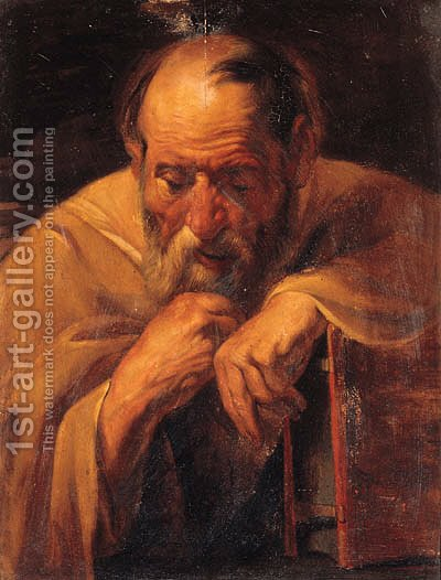 An Apostle holding a book by (after) Jacob Jordaens - Reproduction Oil Painting