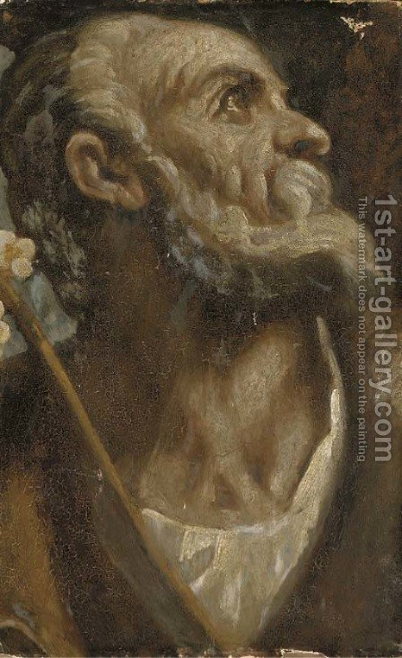 The Head of Saint Joseph by (after) Jacopo D'Antonio Negretti (see Palma Giovane) - Reproduction Oil Painting