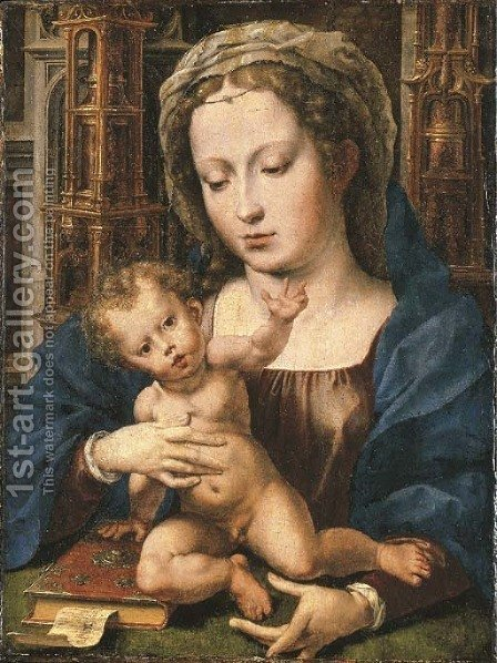 The Virgin and Child 4 by (after) Jan (Mabuse) Gossaert - Reproduction Oil Painting