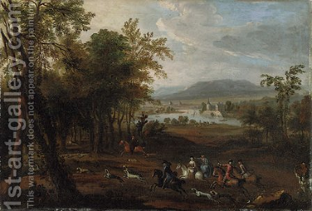 A stag hunt in a wooded landscape, with a mansion beside a river beyond by (after) Jan Wyck - Reproduction Oil Painting