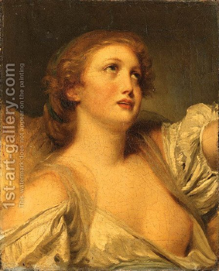 A Girl, bust length, en deshabill by (after) Greuze, Jean Baptiste - Reproduction Oil Painting