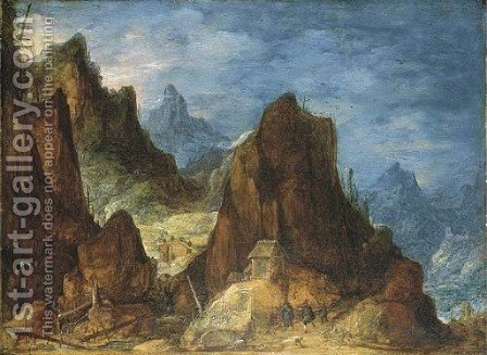 An extensive mountainous landscape with travellers near a hut by (after) Joos De Momper - Reproduction Oil Painting