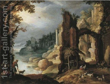 A classical river landscape with herdsmen and goats resting amongst ruins by (after) Paul Bril - Reproduction Oil Painting