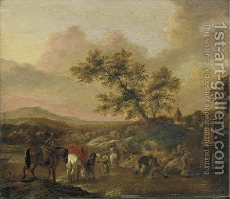 An extensive landscape with travelers on horseback crossing a river by (after) Phillips Wouwermans - Reproduction Oil Painting