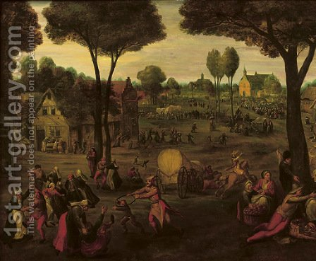 A village 'Kermesse' by (after)  Peeter Baltens - Reproduction Oil Painting