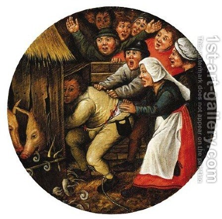 The Drunkard pushed into the Pigsty by (after) Pieter The Younger Brueghel - Reproduction Oil Painting