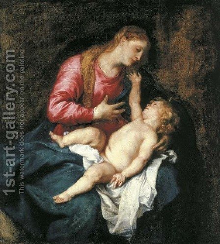 The Virgin and Child 2 by (after) Dyck, Sir Anthony van - Reproduction Oil Painting