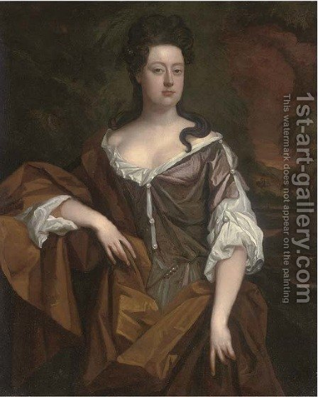 Portrait of a lady, traditionally identified as Queen Anne (1665-1714) by (after) Kneller, Sir Godfrey - Reproduction Oil Painting