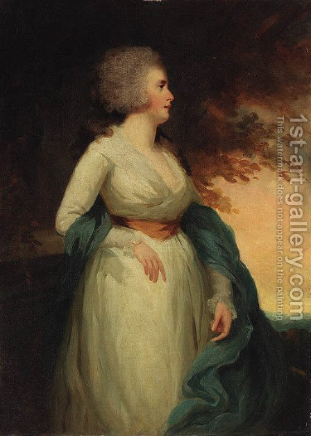Portrait of a lady 2 by (after) Sir Henry Raeburn - Reproduction Oil Painting