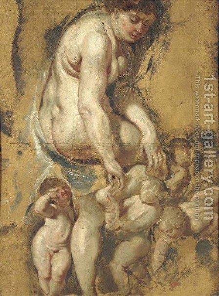 The Birth of the Rose Venus pulling a thorn from her foot, attended by Putti by (after) Sir Peter Paul Rubens - Reproduction Oil Painting