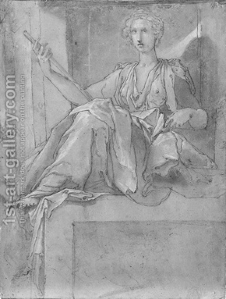 A female allegorical figure seated on a plinth by (after) Taddeo Zuccaro - Reproduction Oil Painting