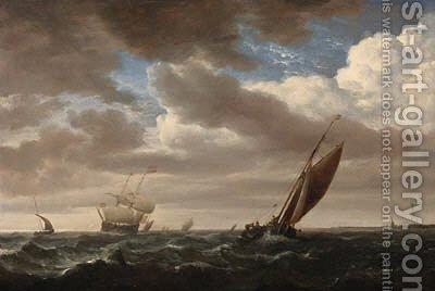 A kaag and other shipping in a fresh breeze by (after) Willem Van De, The Younger Velde - Reproduction Oil Painting