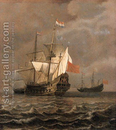 An Amsterdam man-o'-war at sea, as a storm approaches -  a fragment by (after) Willem Van De, The Younger Velde - Reproduction Oil Painting