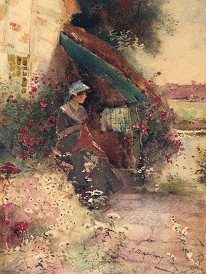 Reproduction oil paintings - Thomas Mackay - A young Lady seated in a Cottage Garden