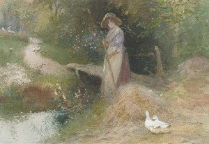 Reproduction oil paintings - Thomas Mackay - Gathering the hay
