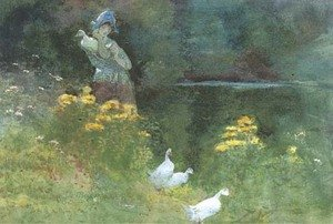 Reproduction oil paintings - Thomas Mackay - The injured duck