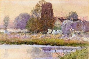 Reproduction oil paintings - Thomas Mackay - Weston Church and meadows, Warwickshire