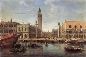 Famous paintings of Squares and Piazzas: The Piazzetta from the Bacino di San Marco c. 1700