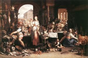 Famous paintings of Meat: Kitchen Scene 1605