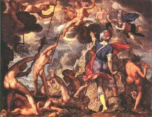 Mannerism painting reproductions: The Battle Between the Gods and the Titans 1600