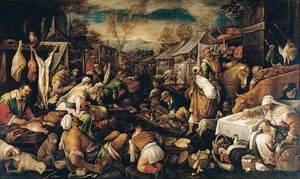 Mannerism painting reproductions: Market Scene 1580-85