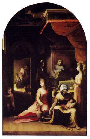 Mannerism painting reproductions: Birth Of The Virgin 1543