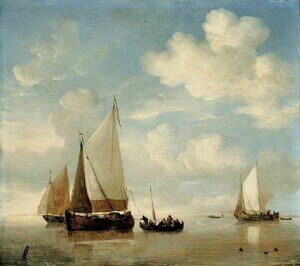 Famous paintings of Ships & Boats: Calm   Dutch Smalschips And A Rowing Boat