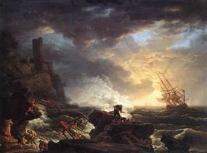 Famous paintings of Storms & Rough Water: Shipwreck 1759