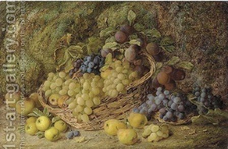 Grapes, apples, plums and blueberries in a wicker basket by Vincent Clare - Reproduction Oil Painting