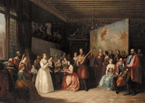Famous paintings of Studios and Workshops: Music in Titian's studio