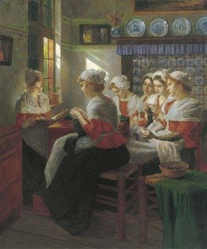 Reproduction oil paintings - Walther Firle - Telling sweet stories