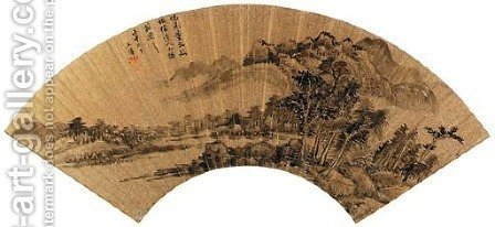 Landscape After Dong Qichang (1555-1636) by Hui Wang - Reproduction Oil Painting