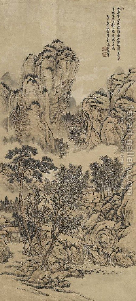 Landscape After Tang Yin by Hui Wang - Reproduction Oil Painting